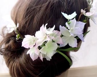 Handmade Flowers,Flower headband,hydrangeas,garden party gown,headband with flowers,flower crown,headband forwedding,piece bridesmaids