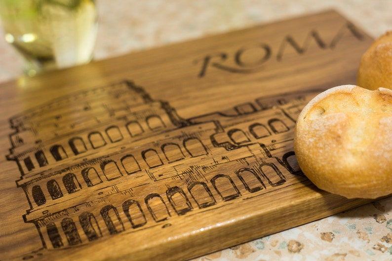 travel gift Italy gift luxury gift kitchen decor Italian gift personalized board Rome art custom cutting board Roma print