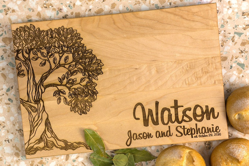 Wooden Board anniversary gift family tree Personalized Cutting Board just married gift wedding gift gift for couple