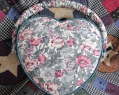 Heart Shaped Sewing Box, Floral Fabric and Wood We also have Corn Bags, Baby Quilts, Dog Toy, Tupperware, Pyrex, Cross Stitch, More Vintage