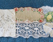 Vintage Doily Lot of 6, Crocheted, Linen, Small Doilies, White and Colorful We also have Corn Bags, Baby Quilts, Dog Toys, Afghans, China