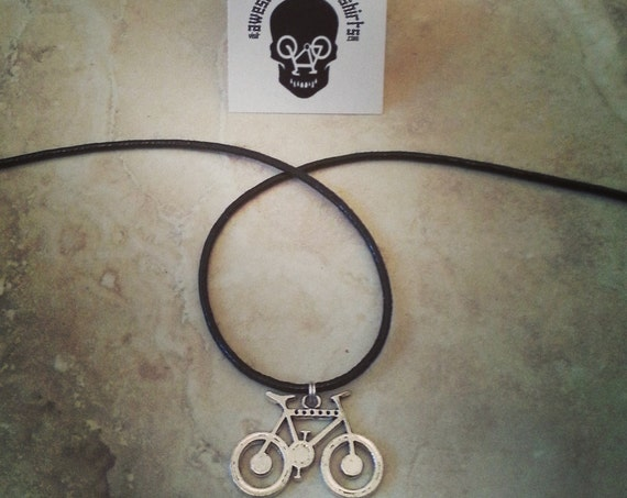 Mountain Bike Design Necklace on a Black Cord Wonderful Gift for Any Bike Rider or Cyclist Enthusiast Silver Clasp Awesome Birthday Present