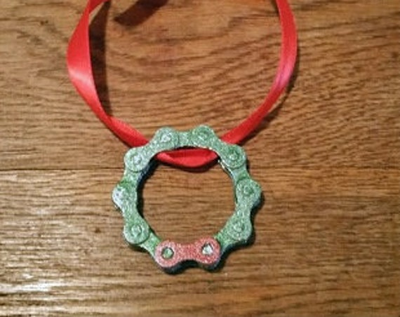 Christmas Wreath - Bicycle Chain Tree Decoration Cute Handmade Gift  will be loved by any Cyclist or Bike Rider