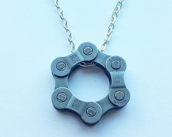 Circular Bicycle Chain Charm on a Silver Chain Necklace Lovely Gift for a Cyclist Cute Diamond Shape Christmas Birthday Upcycle
