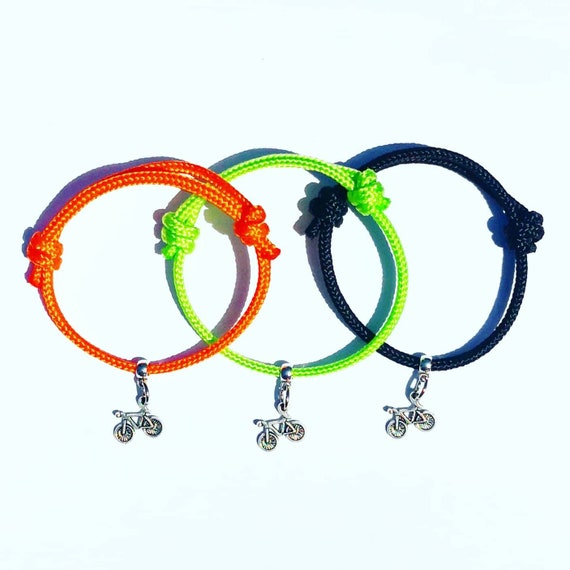 Bicycle Bracelet for Cyclists, Great Gift, Bike Design Charm on Paracord Cycle
