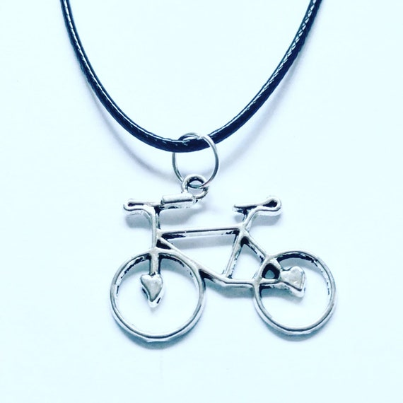 Bicycle Bike Design Necklace on a Black Cord Wonderful Gift for Any Bike Rider or Cyclist Enthusiast Silver Clasp Awesome Birthday Present