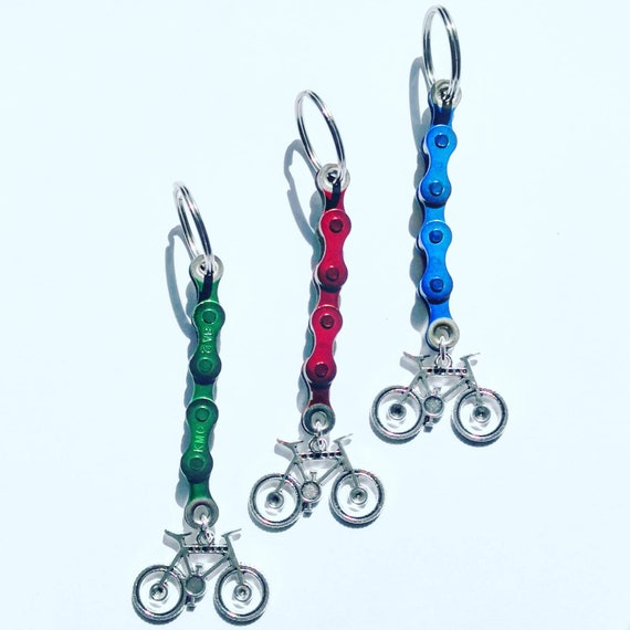 Mountain Bike Keychain Keyring Gift for Cyclist Bicycle Rider made from Upcycled Bike Parts Tour Cyclist Present Key fob