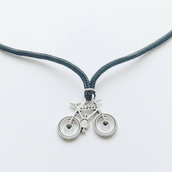 Mountain Bike Design Necklace on a thick Cord Wonderful Gift for any Bicycle Rider or Cyclist  Silver Clasp Awesome Birthday Present