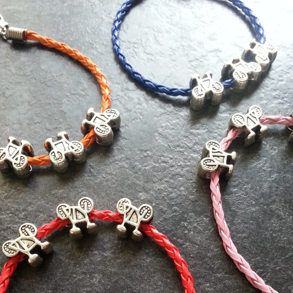 Leather Bracelet with Three Bike Charms - Great Gift for a Bike Rider or Bicycle Fiend - Velo Tour Theme