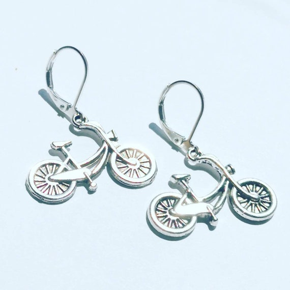 Bike Earrings Lovely Gift for Cyclists or Bicycle Rider Present Beautiful Silver plated  leverback hooks pierced ears alloy charm