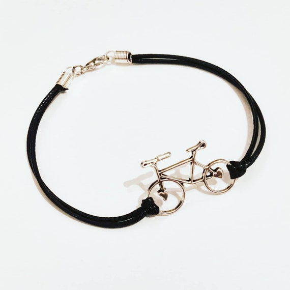 Cute Bracelet for People who Love To Cycle! Great Gift, Bike Design Charm on cord, Upcycled Bicycle Accessory