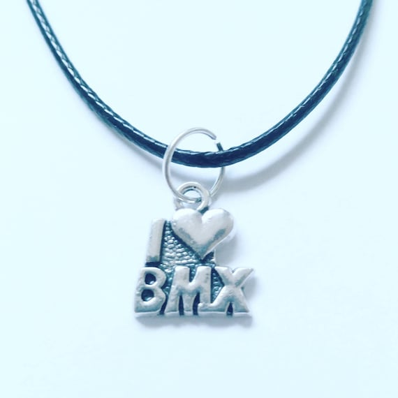 BMX Bicycle Bike Design Necklace on a Black Cord Wonderful Gift for Any Bike Rider or Cyclist Enthusiast Silver Clasp Birthday Present