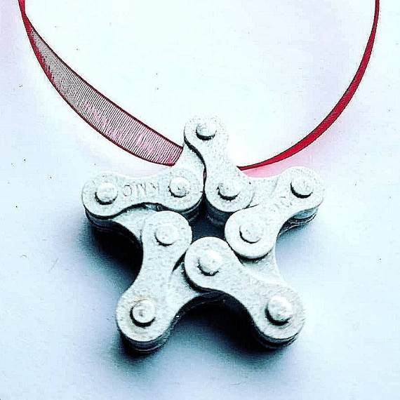 Christmas Star Made from Bicycle Chain Great for Bike Riders and Cyclists, Fun Xmas Tree Decorations, Stocking Filler or  Present