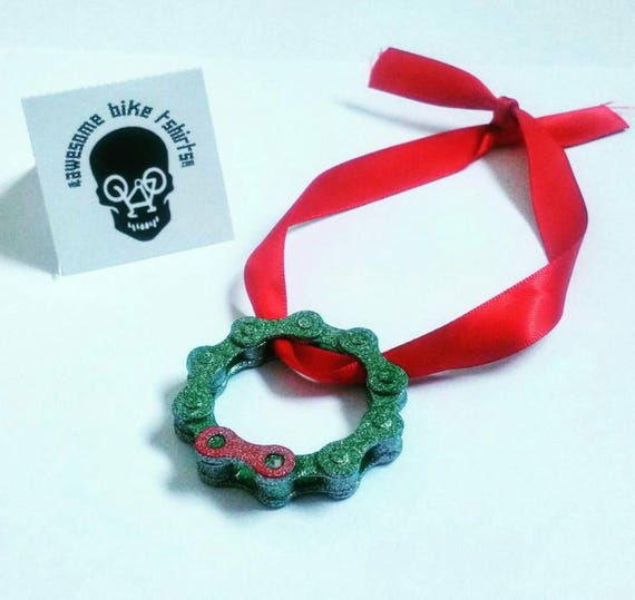 Christmas Wreath Made from Bicycle Chain Great for Bike Riders and Cyclists, Fun Xmas Tree Decorations, Stocking Filler or  Present