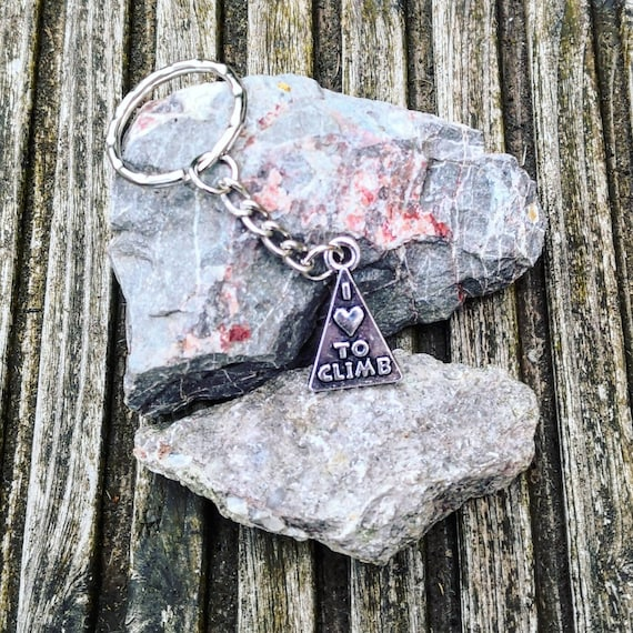 I Love To Climb - Climber Keyring Gift for anyone into Climbing Mountain Rock Bouldering lovely Present Universal Gift Idea Keys Fob belay