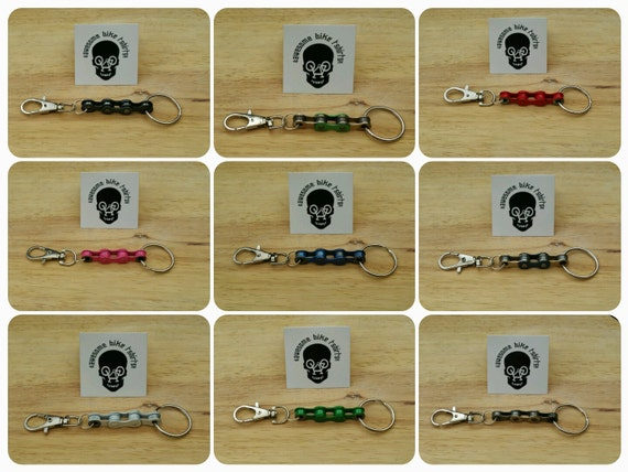 Bicycle Chain Keyring, Keyfob, Keychain Lots of Colours Great Gift for Bike Rider or Cyclist Upcycled Recycled Stocking Filler Birthday