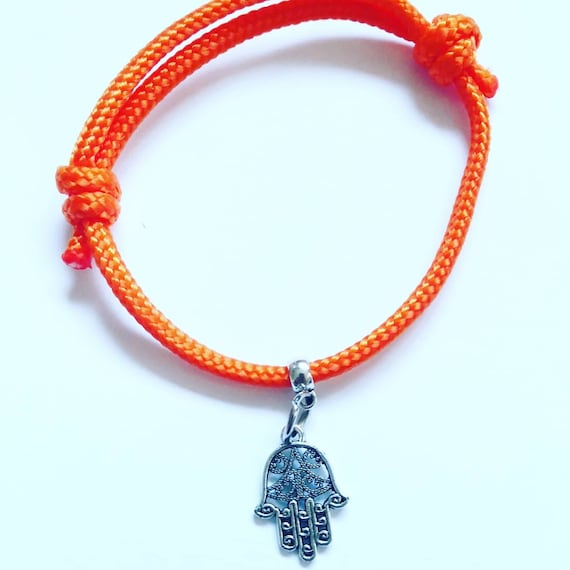 Yoga Bracelet Gift, Hamsa Palm Design Charm on cord, Happiness and good fortune. Buddha Protection