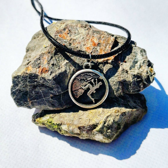 Climber on Black Cord Necklace with Climbing Design Charm.... Excellent Gift for Climbers Bouldering Belay Rock climbing
