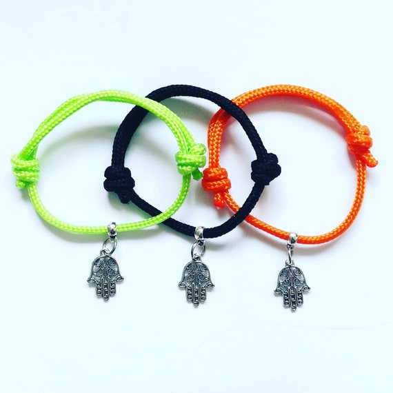 Yoga Hamsa Hand Om Bracelet Gift, Yoga Design Charm on cord, Happiness and good fortune. Buddha Hippy