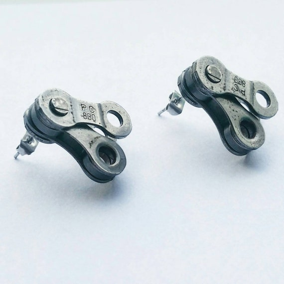 Bicycle Earrings Lovely Gift for Cyclists or Rider Present Ear Beautiful Silver plated wires suitable for pierced ears Upcycled Chain Charm