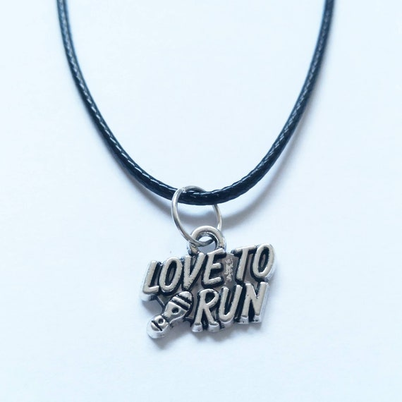 Love To Run Design Necklace on a Black Cord Wonderful Gift for Any Runner or Jogger Enthusiast Silver Clasp Awesome Birthday Present
