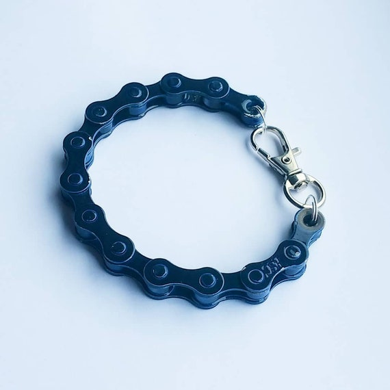 Midnight Blue Bicycle Chain Bracelet Great Gift for Any Cyclist or Bike Rider Upcycled  Punk Industrial Key ring or Keychain