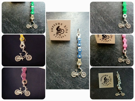 Retro Bicycle Chain Keyring, Keyfob, Keychain Lots of Colours Great Gift Bike Rider or Cyclist Upcycled Recycled Stocking Filler Birthday