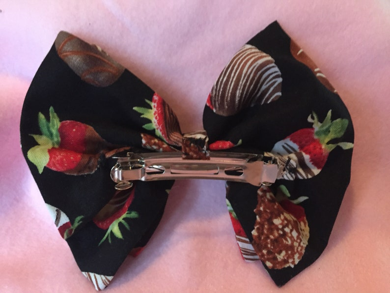 Chocolate Covered Strawberry Bow Barrette