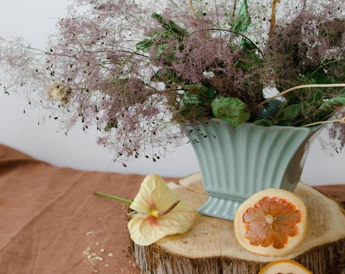 Vintage ceramic flower vase, vintage pottery. Plant pot