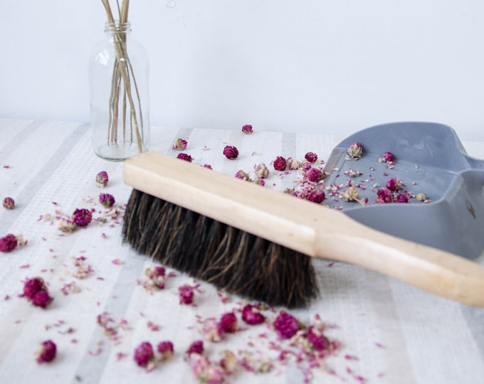 Vintage natural horsehair counter broom