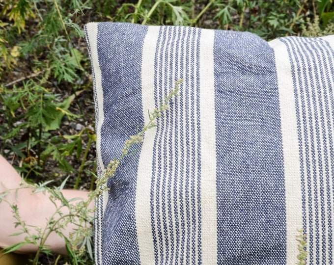 Decorative cushion cover, 20x20 navy stripes