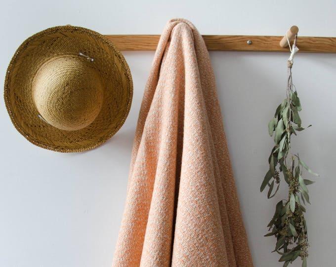 Handmade blanket with fringes, Orange + white
