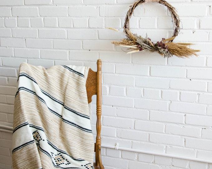 Vintage weaved throw blanket / Decorative blanket.