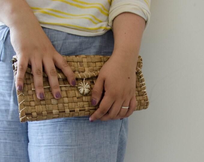 Natural Fiber clutch bag, travel cosmetic bag
