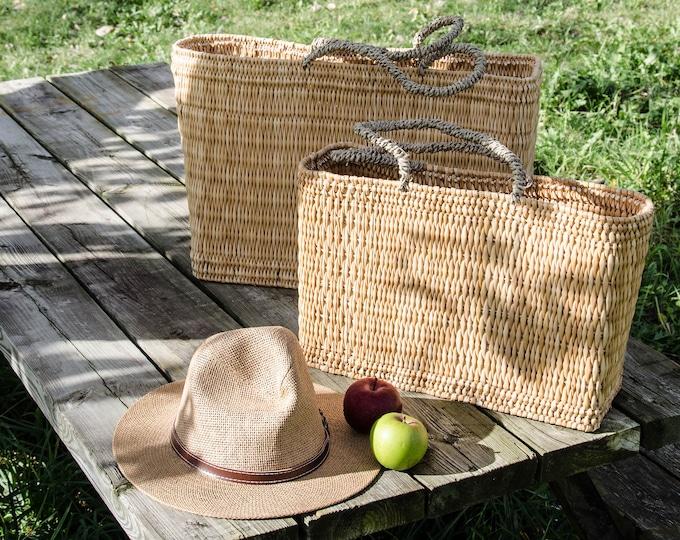 Market bags in rattan, natural-