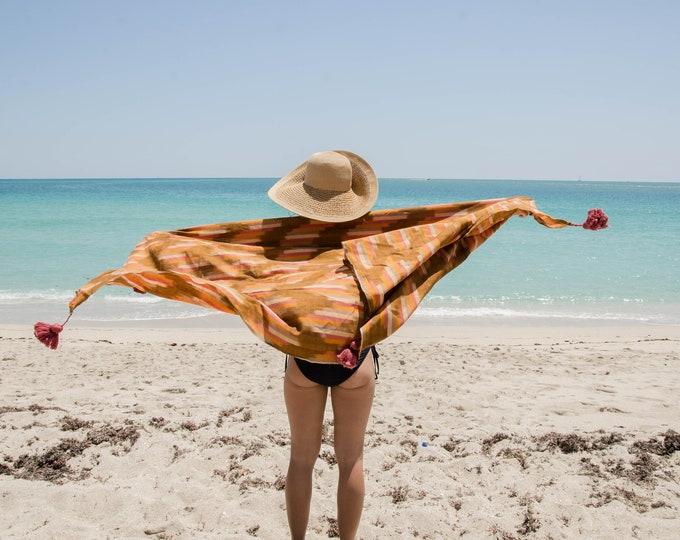 Handmade cotton throw blanket with tassels. Beach towel.
