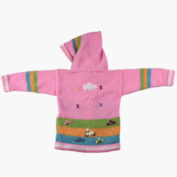 Baby Kids Hand Knitted Fair Trade Children/'s Cardigan with Pixie Hood Light Pink Rainbow