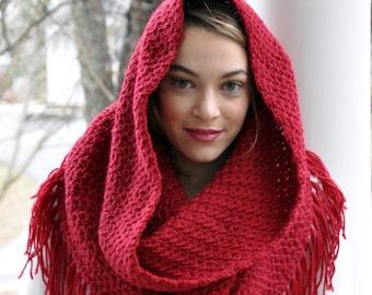 Crochet Pattern - Crochet Hooded Cowl Pattern - Oversized Cowl Pattern - Crochet Cowl with Fringe - 5 Sizes - Musette