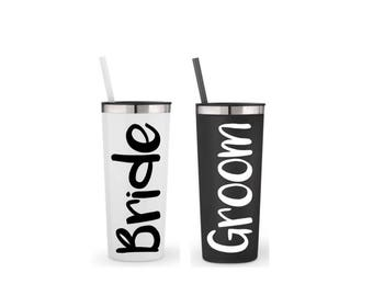 Bride and groom gift, set of 2 large 22 oz. stainless steel his and her cups, engagement gift, wedding gift, gift for the couple
