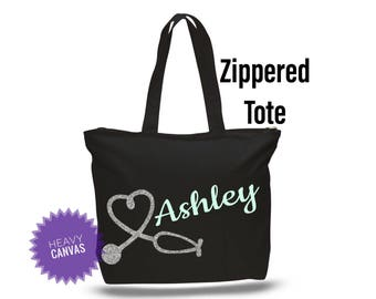 Nurse Gift, Nurse Bag with Zipper, Nurse Tote, Nursing Staff gifts, Nurse Appreciation gifts