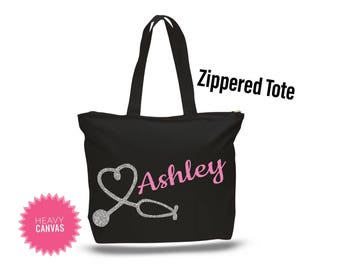 Nurse Tote Bag, Nurse Bag, Nurse Graduation Gift, Nurse Appreciation Gift, LPN gifts, Personalized Tote Bag with Zipper