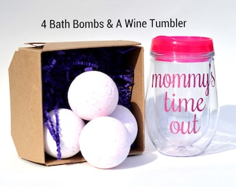 Mothers Day Gift Set, includes 4 large bath bombs and mommys time out wine tumbler, gift set for her, mommys sippy cup, gift box