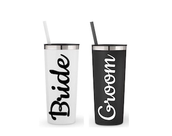 Bridal shower gift, honeymoon cups, set of 2 large 22 oz. stainless steel his and her cups, his and her mugs, bride and groom mugs