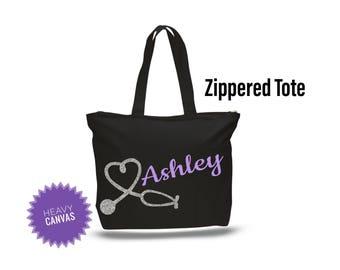RN bag, RN gifts, Registered Nurse Gift, Nurse Graduation Gift, Zippered Tote bag