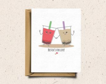 Bubble Tea Greeting Card, Boba Tea, Valentines Day Card, Anniversary Card, Love Card, Cute Card, Kawaii Card   Bestea's For Life!
