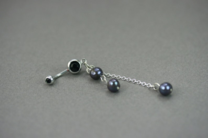 Pearl Belly Ring Black Pearl Belly Button Ring Pearl Silver Navel Bar Belly Ring Piercing Barbell Belly Ring Dangle Black Belly Ring