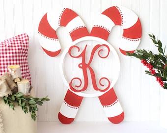 candy cane monogram christmas monogram christmas decor farmhouse christmas candy cane decor - Christmas Candy Cane Decorations