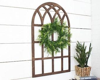 Oversized window* farmhouse style* church window*  window* wood window* farmhouse window* cathedral window* window pane* farmhouse decor