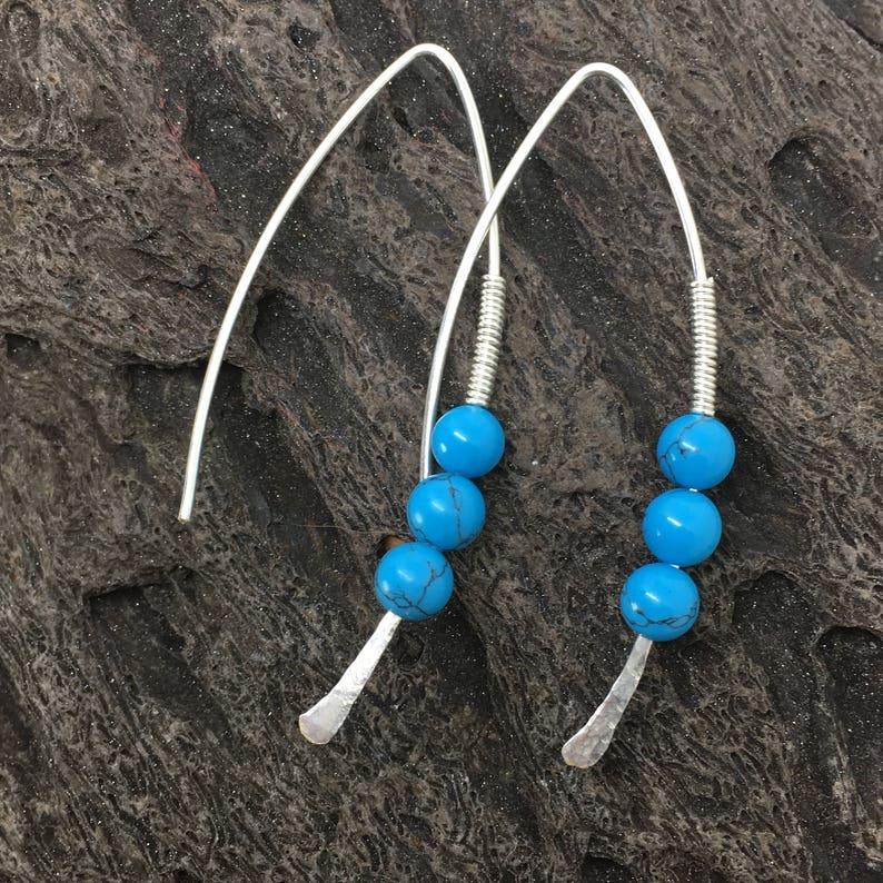 wishbone threader earrings silver hoop earrings gift for her turquoise earrings modern earrings Threader earrings December birthstone