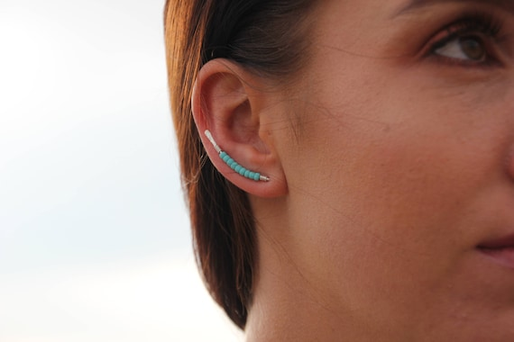 Ear Pins Silver Turquoises Climber Earring Bar Stud Ear Sweep Ear Crawler
